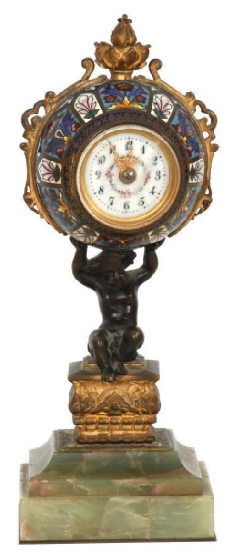 Bronze Onyx & Champleve Desk Clock