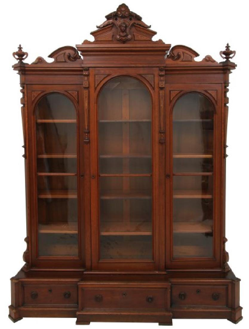 Carved Walnut 3 Door Bookcase