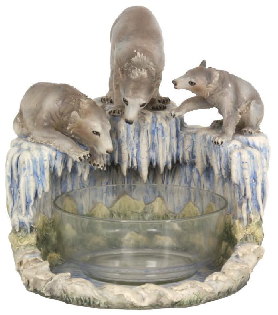 Lg Capodimonte Figural Polar Bear Centerpiece