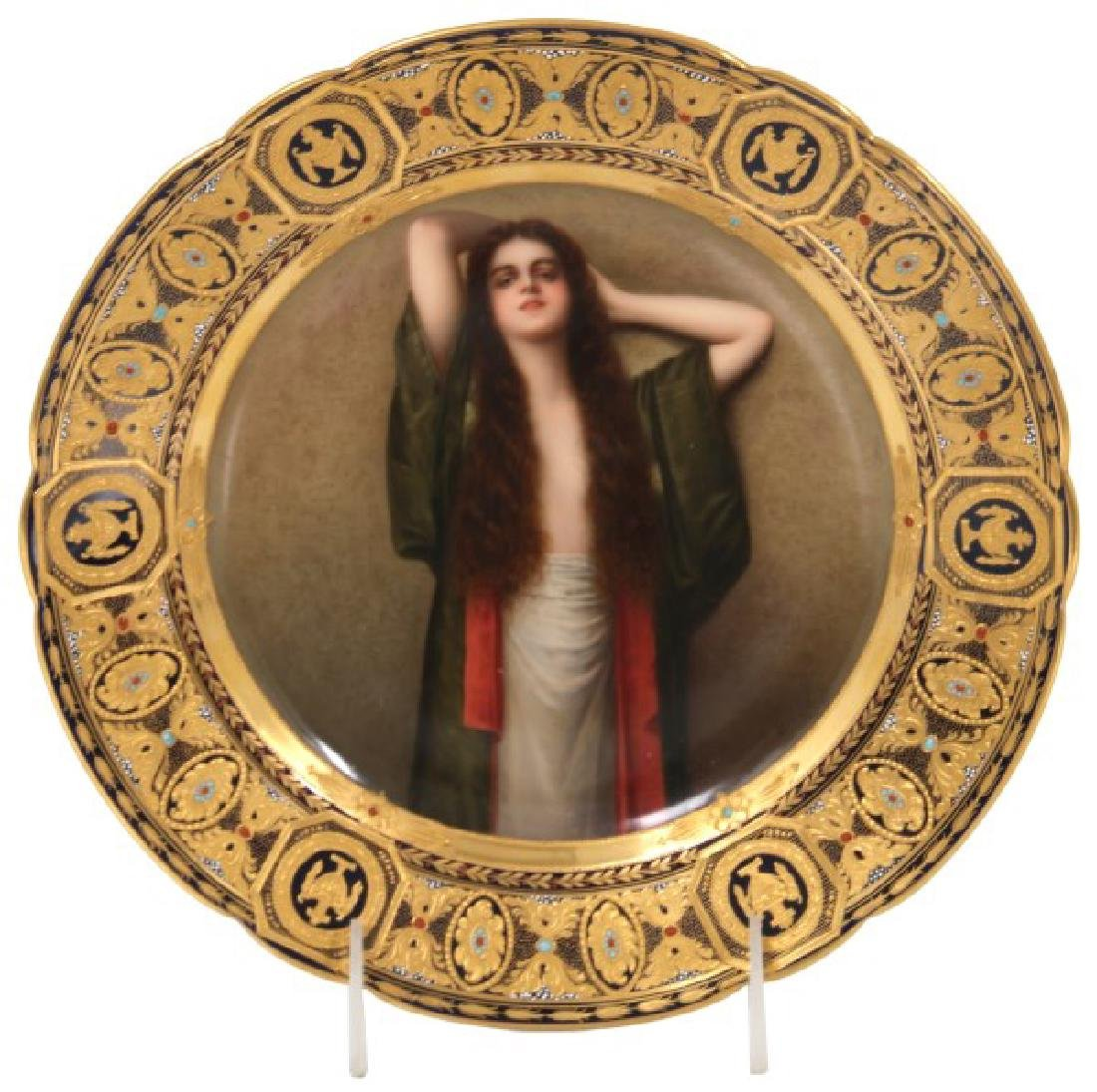 9.5 in. Royal Vienna Hand Painted Portrait Plate