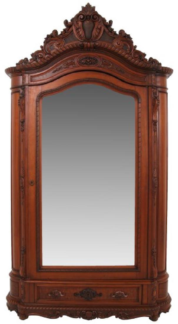 Rococo Carved Mahogany 1 Dr. Armoire