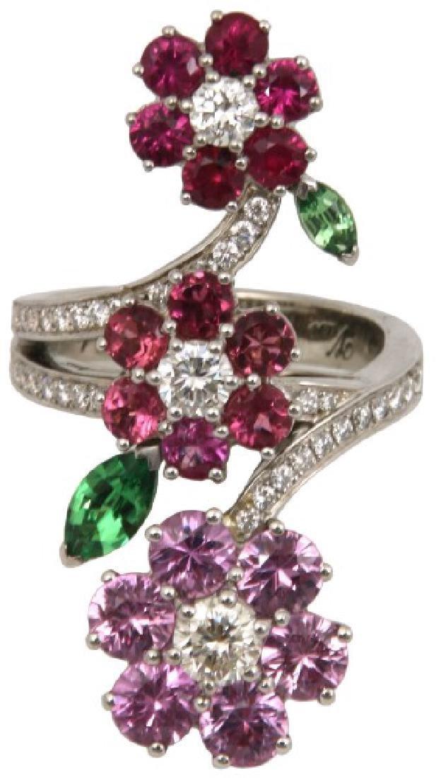 18K Van Cleef & Arpels Floral Bypass Ring