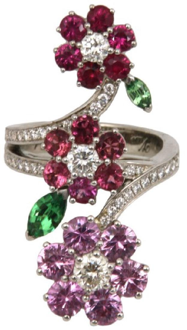 18K Van Cleef & Arpels Floral Bypass Ring