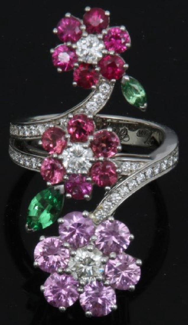 18K Van Cleef & Arpels Floral Bypass Ring - 2