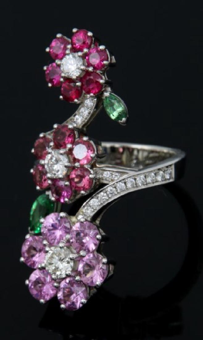 18K Van Cleef & Arpels Floral Bypass Ring - 3