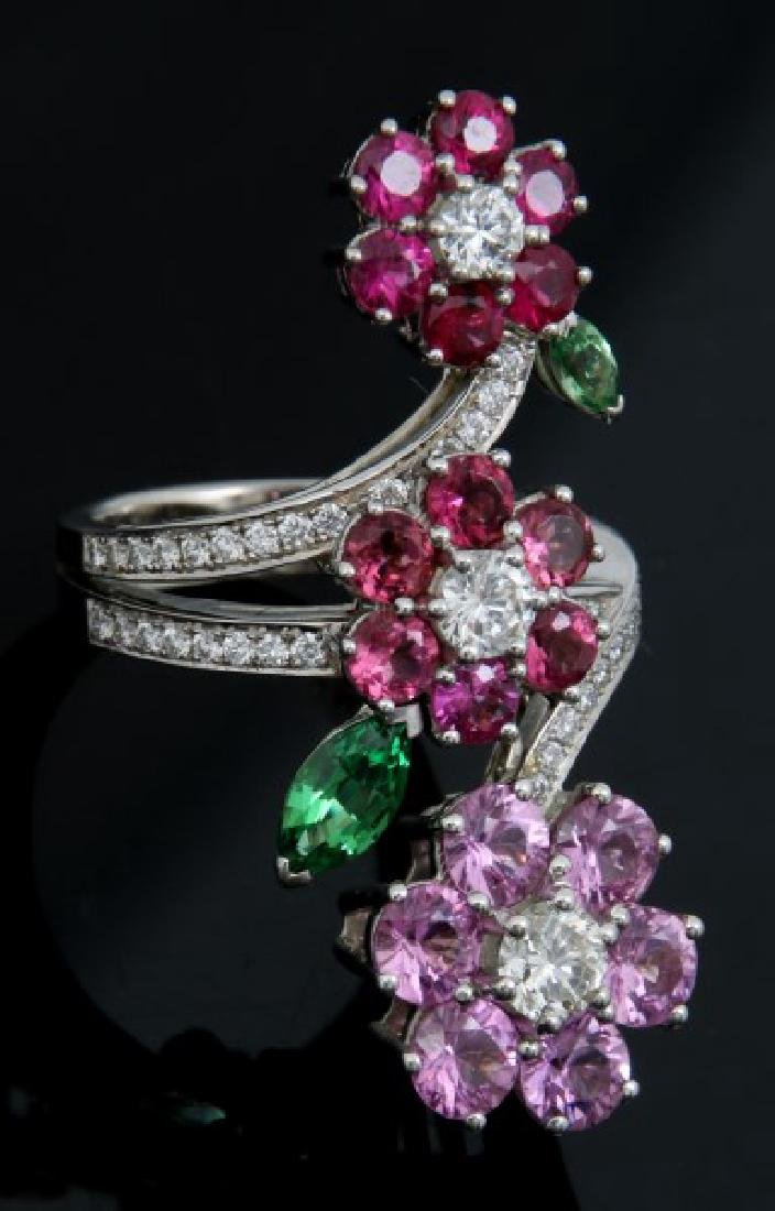 18K Van Cleef & Arpels Floral Bypass Ring - 4