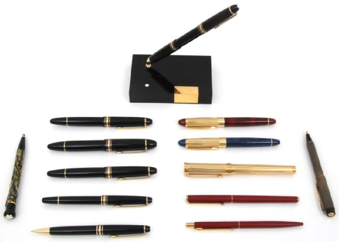 13 Fine Writing Utensils w/ Mont Blanc Stand