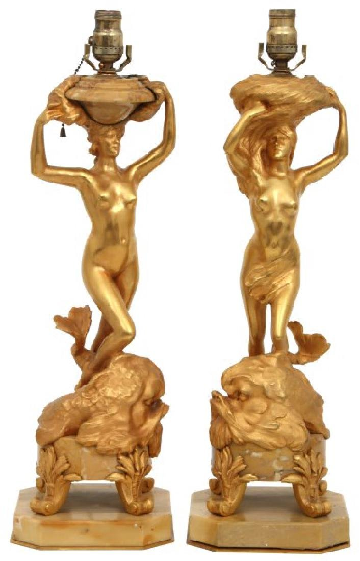 Gustave Dussart Gilt Bronze and Marble Lamps