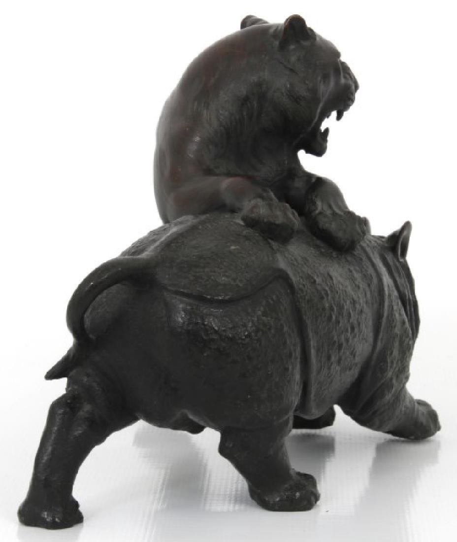 Japanese Bronze Tiger and Rhinoceros - 4