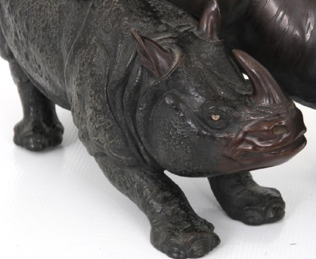 Japanese Bronze Tiger and Rhinoceros - 5