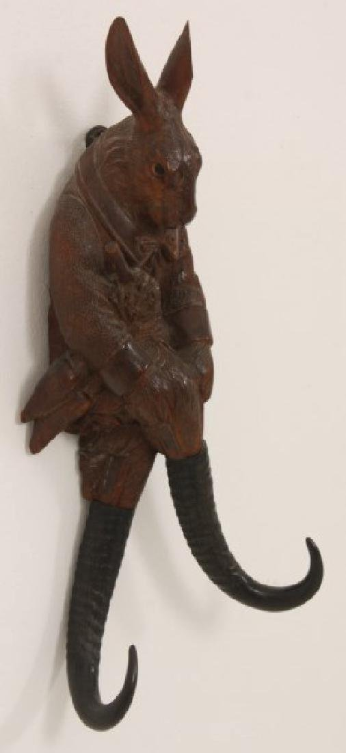 Black Forest Carved Rabbit Whip Hook - 3