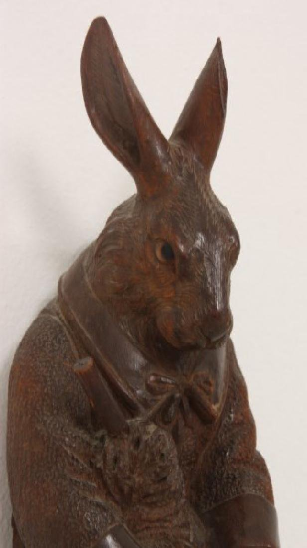 Black Forest Carved Rabbit Whip Hook - 4