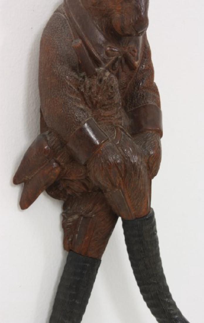 Black Forest Carved Rabbit Whip Hook - 5