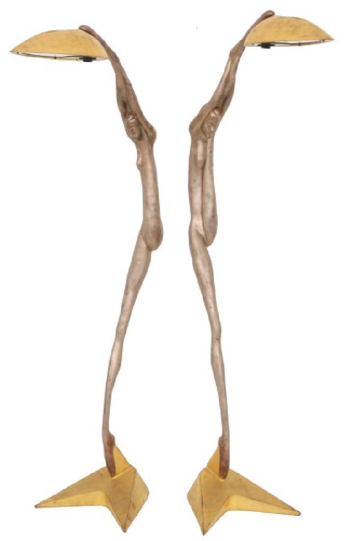 Pr. Bronze Deco Dancer Floor Lamps