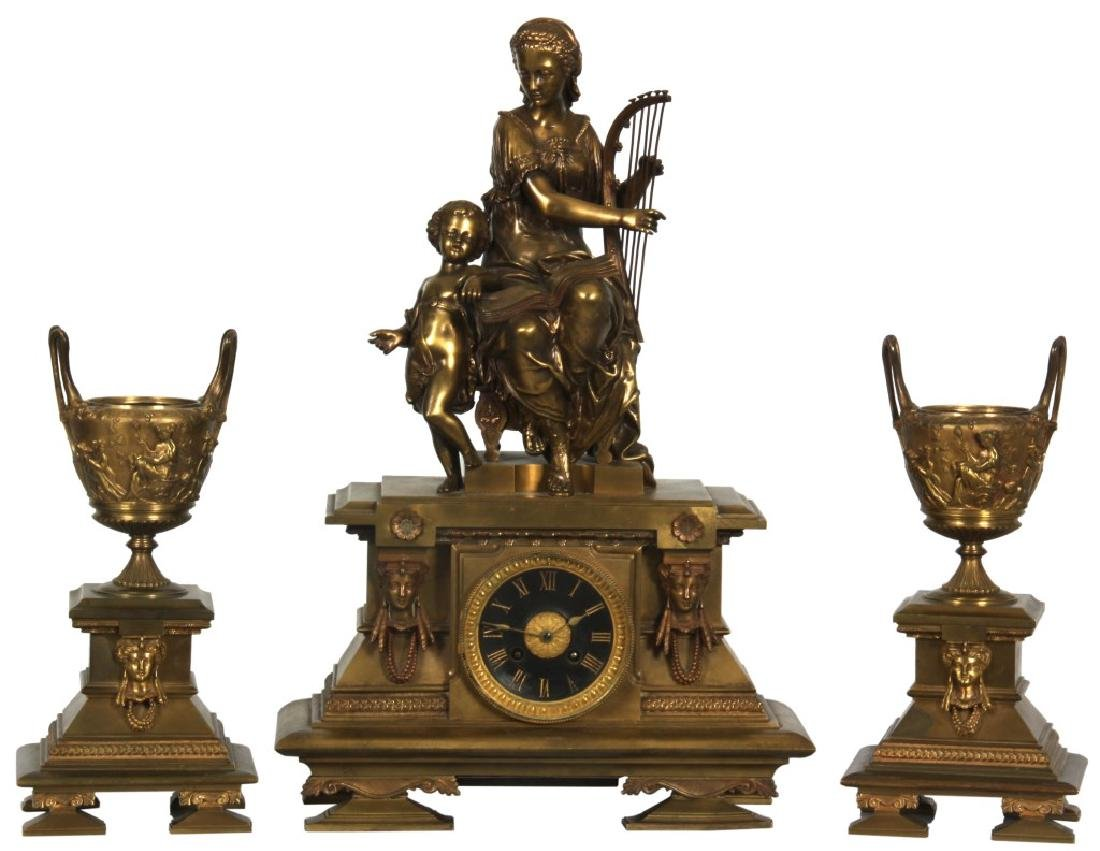3 Pc. French Figural Bronze Clock Set