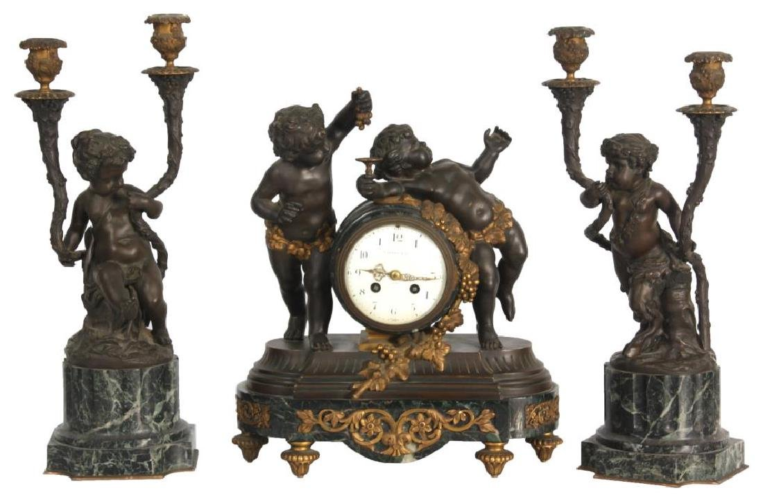 Tiffany & Co. 3 Pc. Marble & Bronze Clock