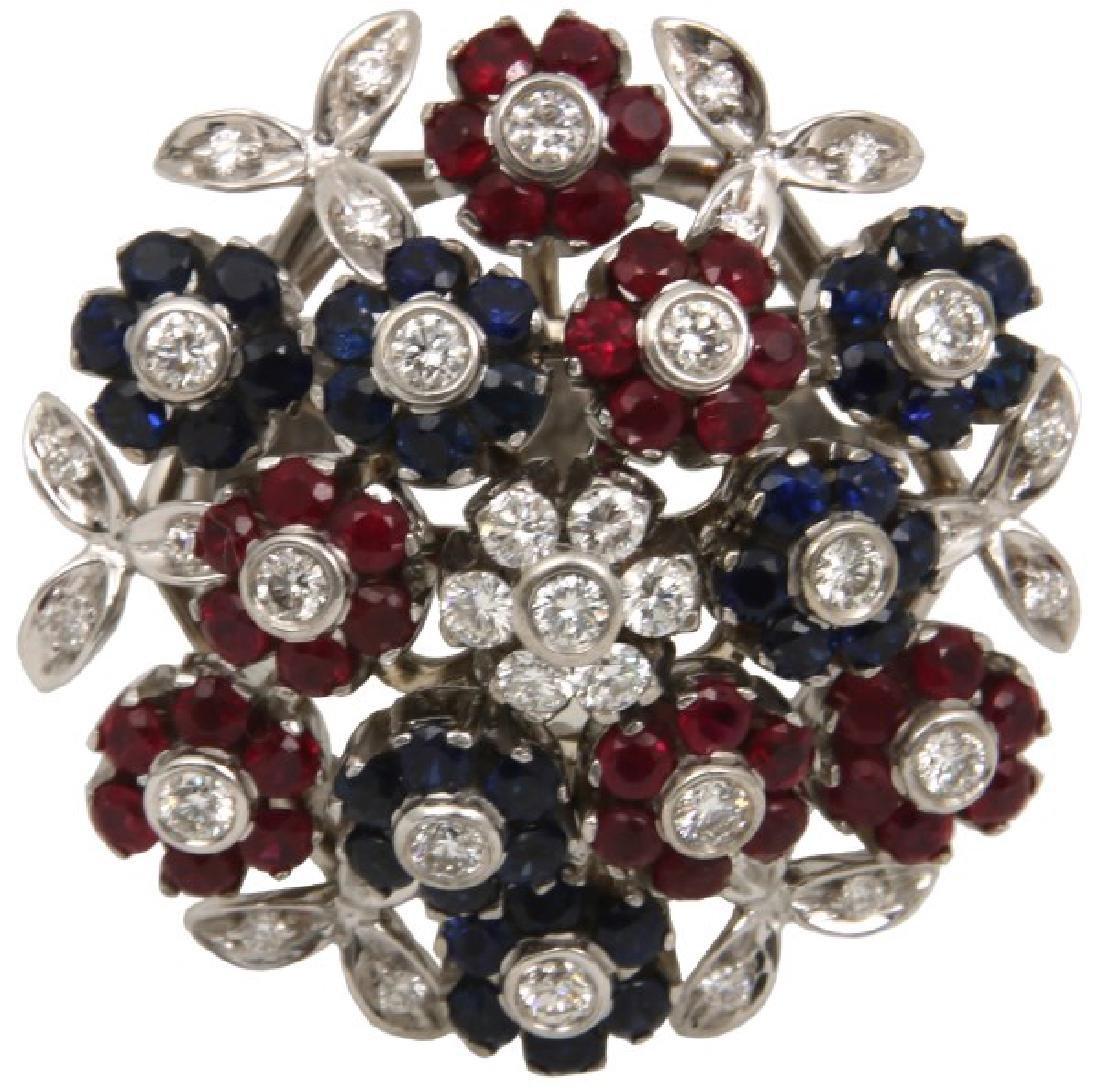 Signed Cartier 18K Flower Cluster Ring