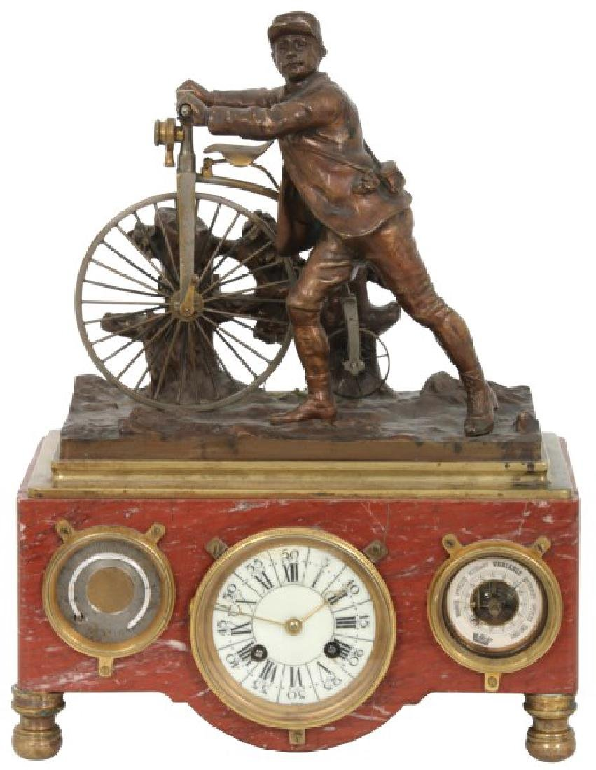 French Industrial Animated Cyclist Mantle Clock