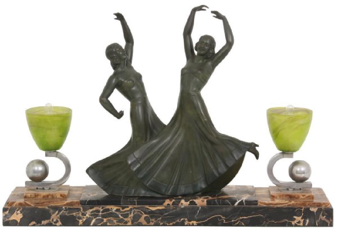 Marble & Bronze Deco Dancers Lamp