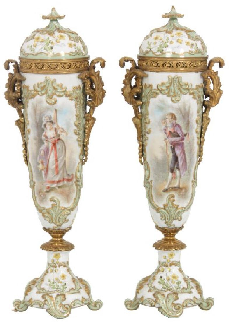 Pr. Sevres Covered Porcelain Urns