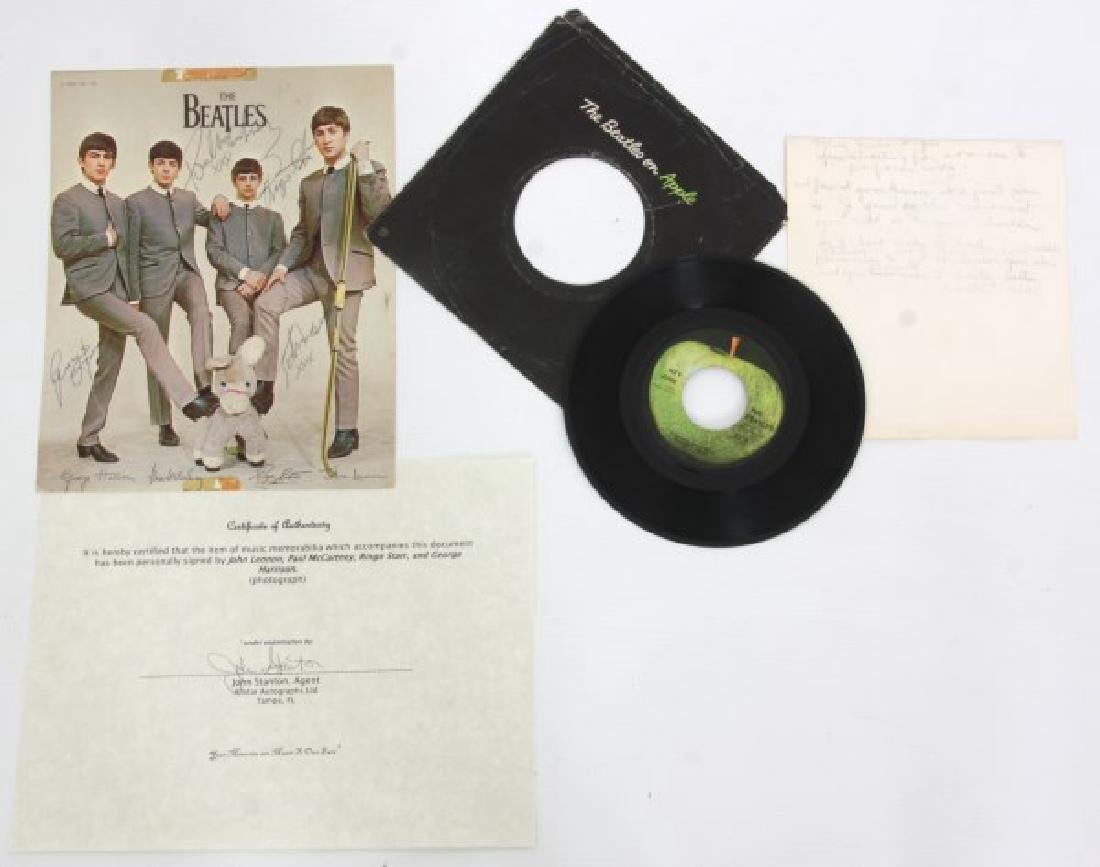 Hand Signed Beatles Photo With Record