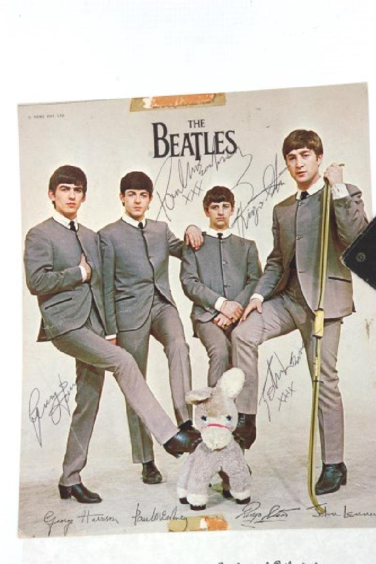 Hand Signed Beatles Photo With Record - 2
