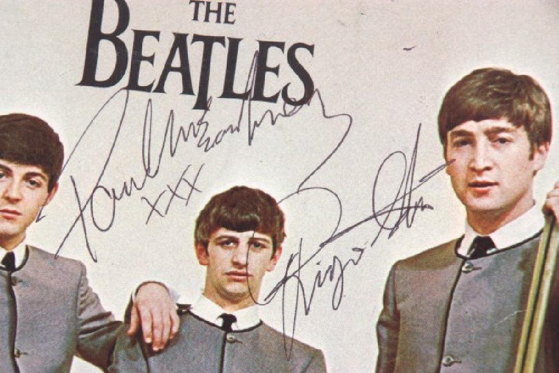 Hand Signed Beatles Photo With Record - 6