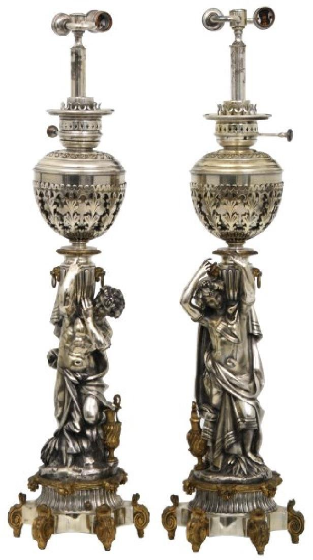 Pr. Silver Plated Figural Lamp Bases