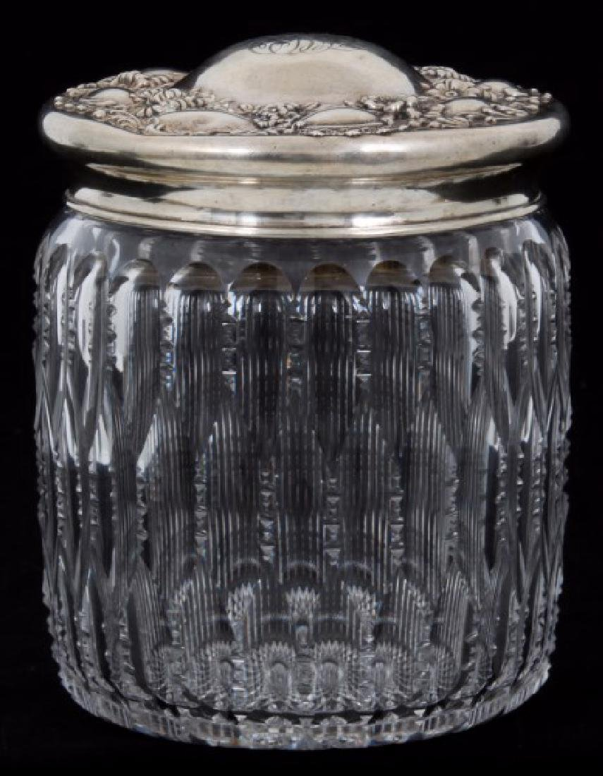 Lg. Sterling Silver and Cut Glass Humidor