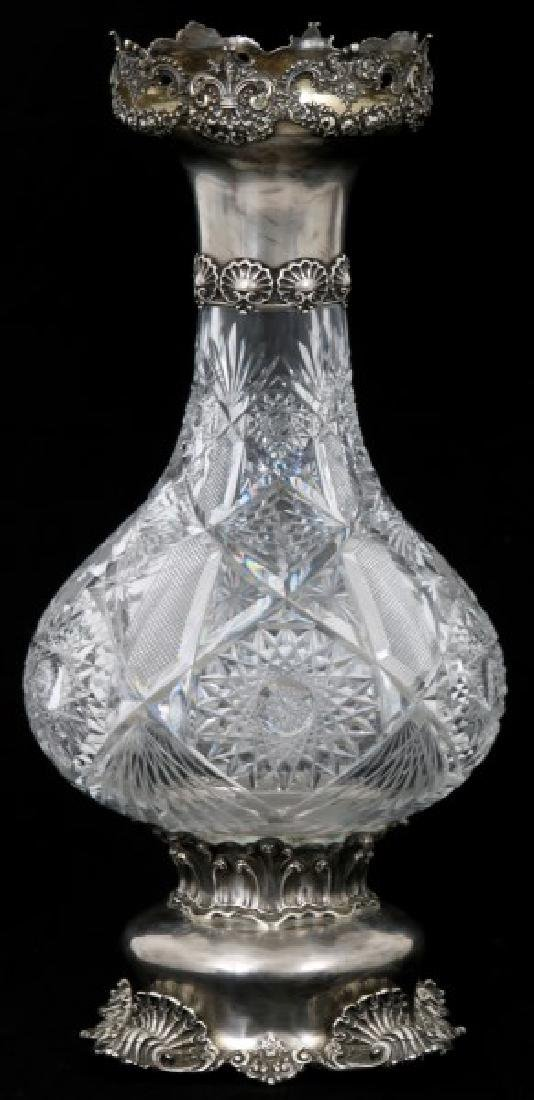 Alvin Mfg. Sterling Silver And Cut Glass Vase