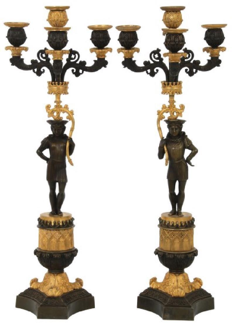 Pr. Bronze Figural 4 Light Candelabras