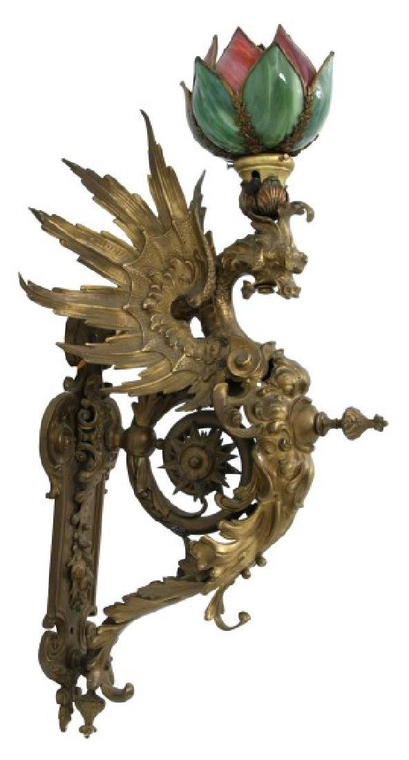 Figural Bronze Winged Griffin Wall Sconce