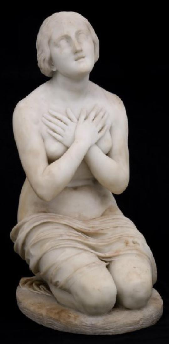 Carved Marble Kneeling Nude Female Sculpture