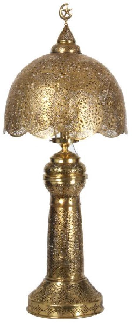 Turkish Pierced Brass Table Lamp