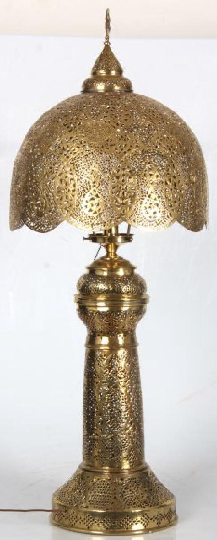 Turkish Pierced Brass Table Lamp - 6