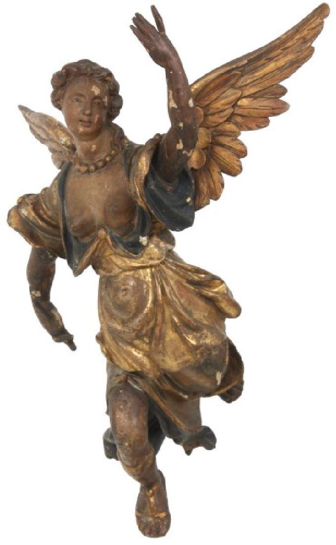 Polychrome Figural Carved Winged Angel Figure