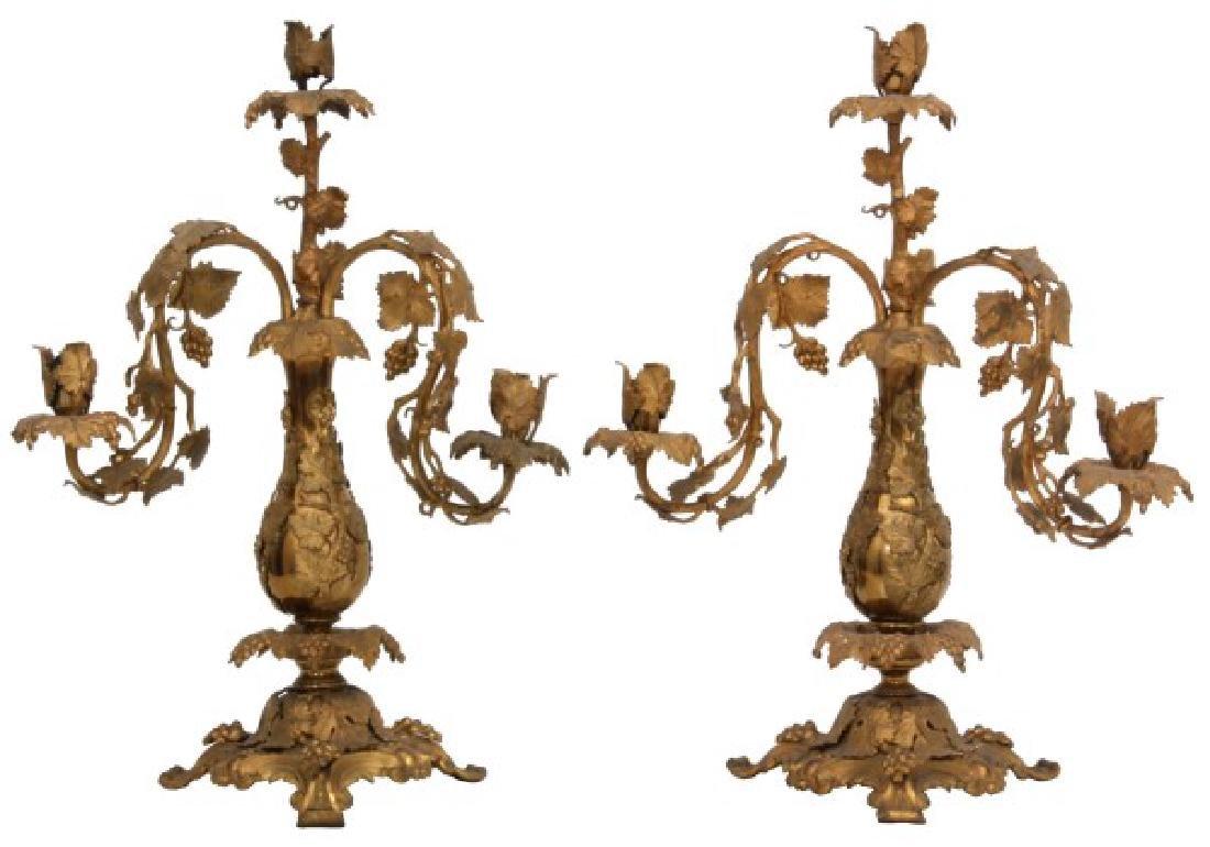 Pr. 3 Arm Bronze Candelabras