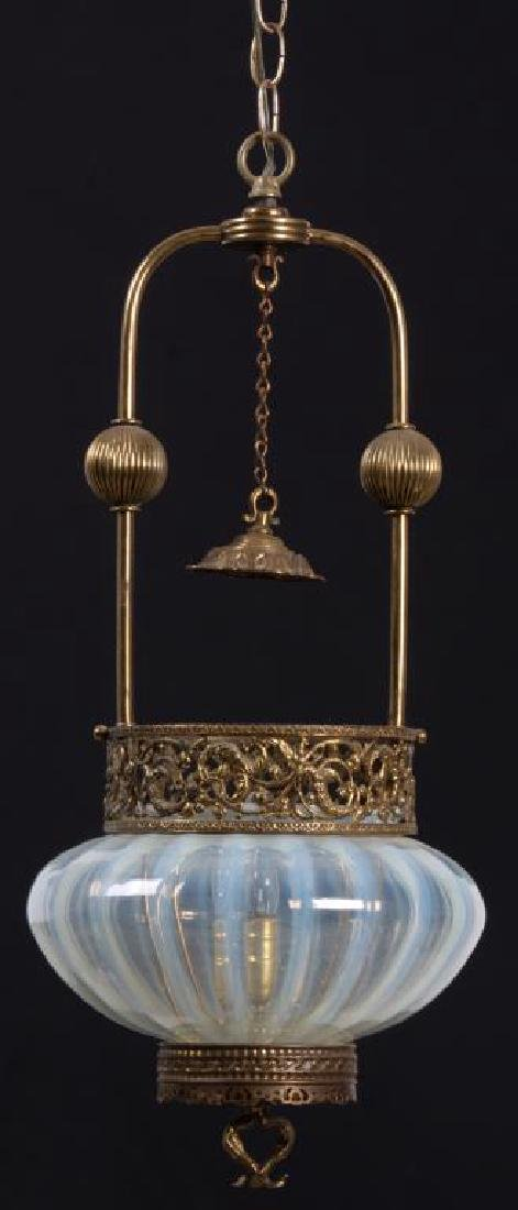 Opalescent & Brass Hall Lamp