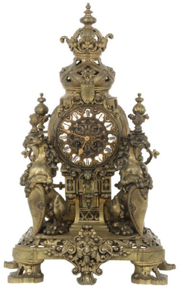 Lg. Figural Lion Bronze Mantle Clock
