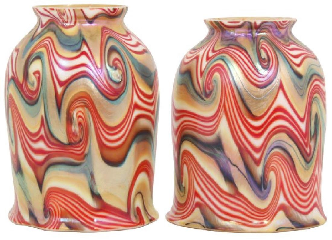 Rare Pr. King Tut Art Glass Shades