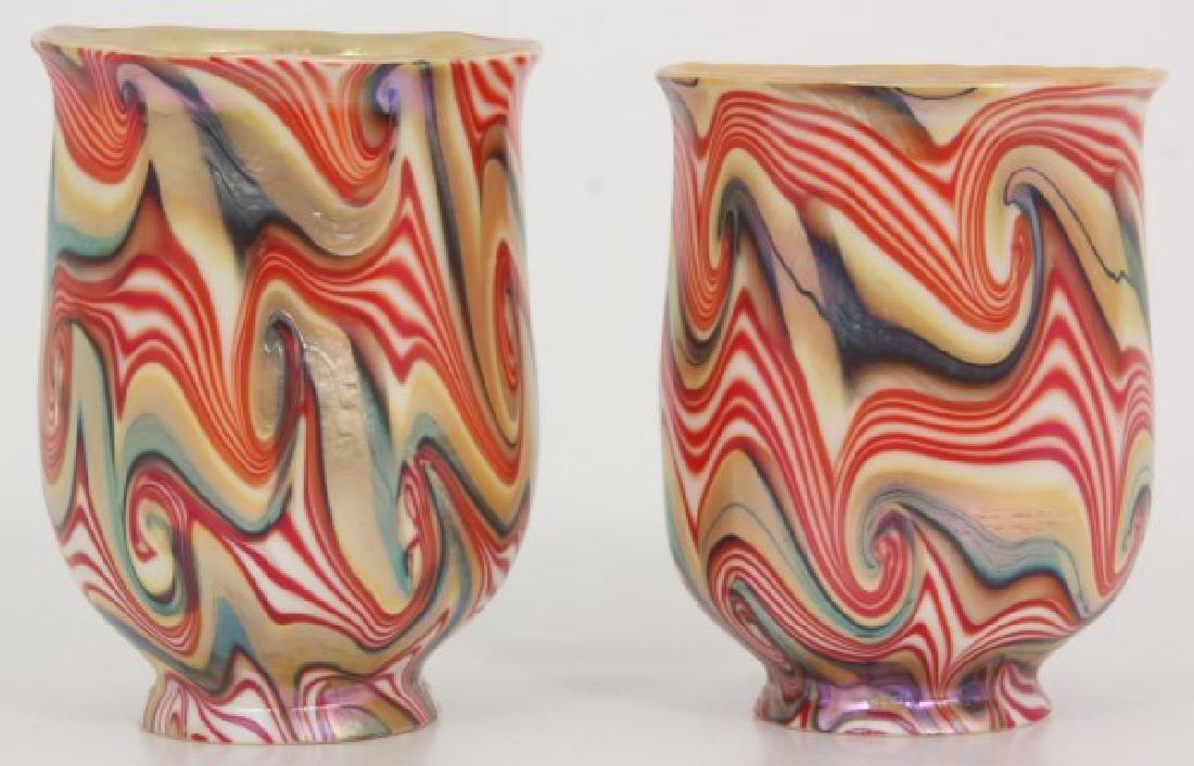 Rare Pr. King Tut Art Glass Shades - 2