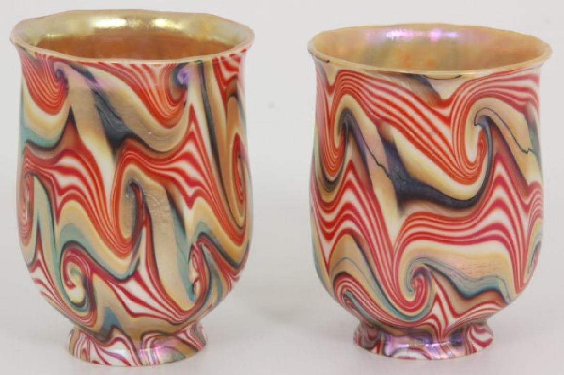 Rare Pr. King Tut Art Glass Shades - 3