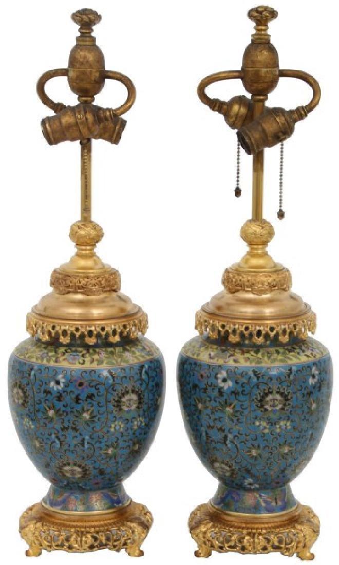 Pr. Gilt Bronze And Cloisonne Lamp Bases