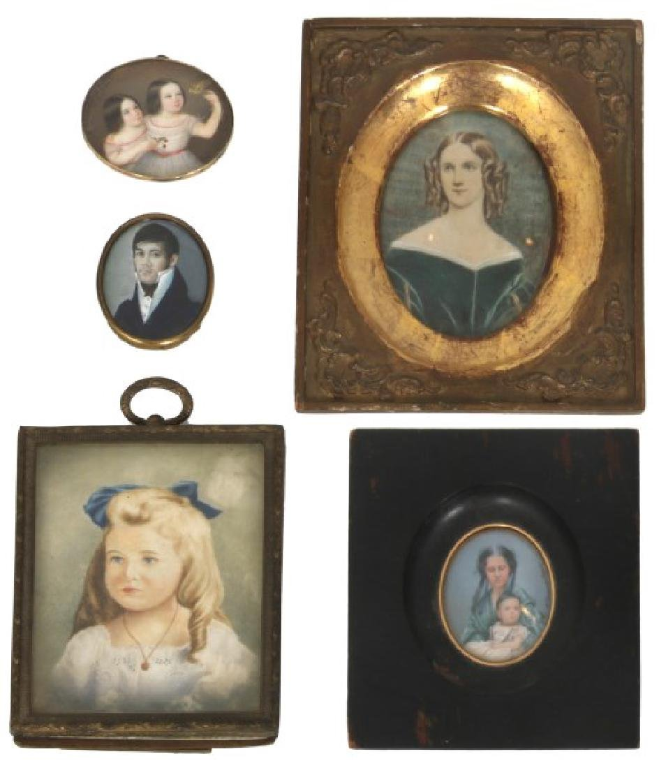 5 Antique Hand Painted Portraits