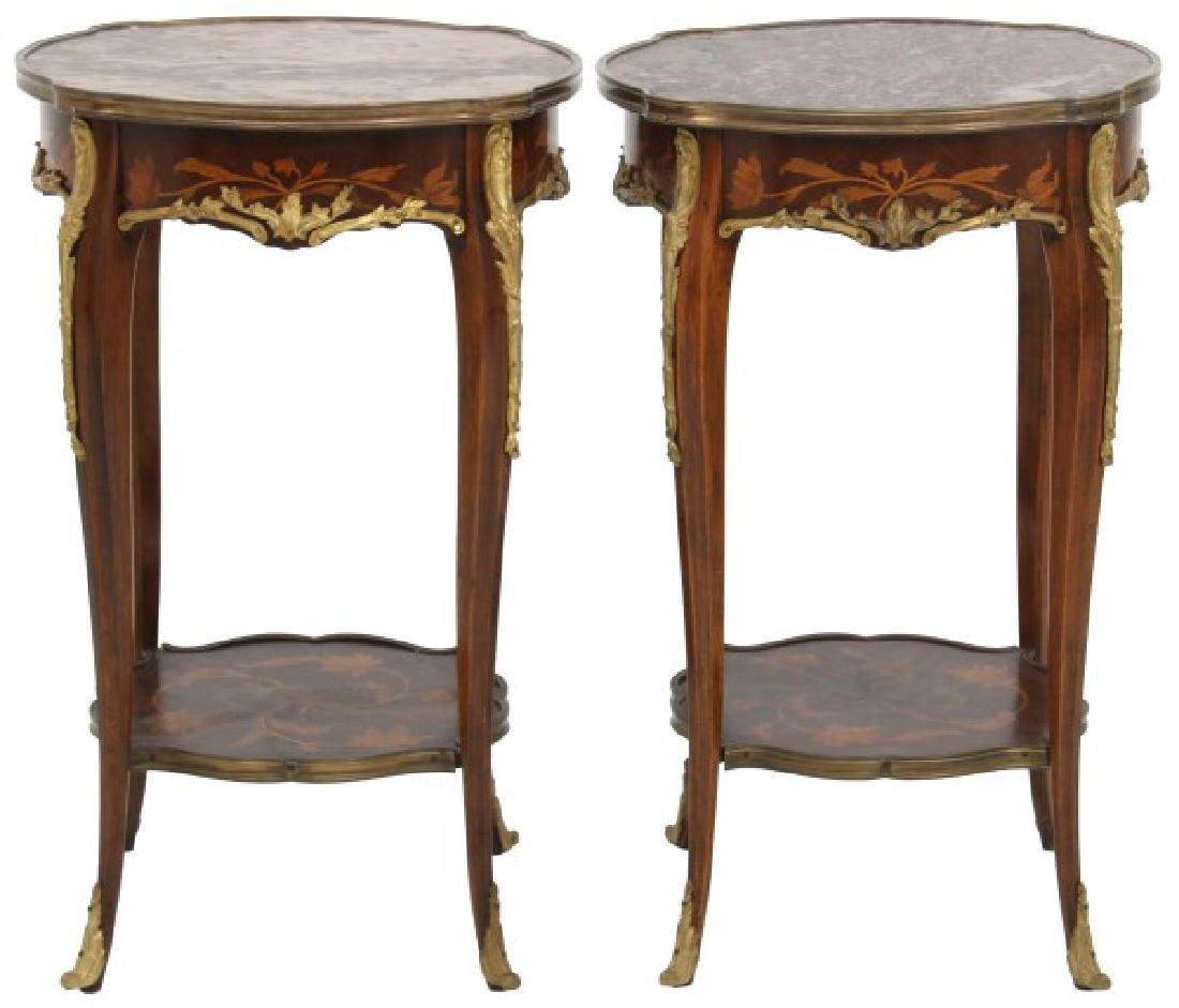 Pr. Inlaid Mahogany Marble Top Stands
