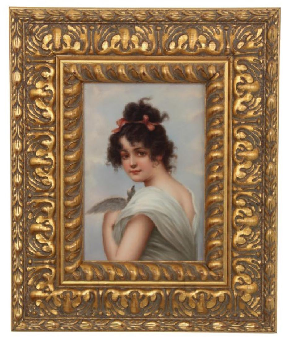 German Porcelain Portrait Plaque – Innocence