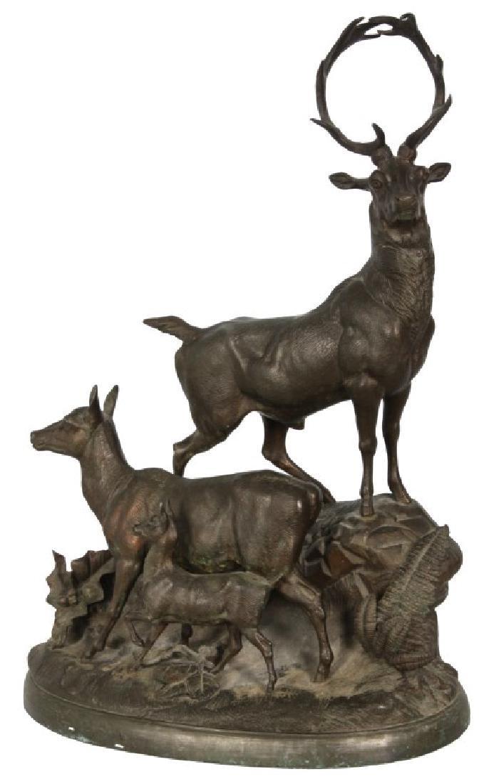 Figural Deer Spelter Grouping