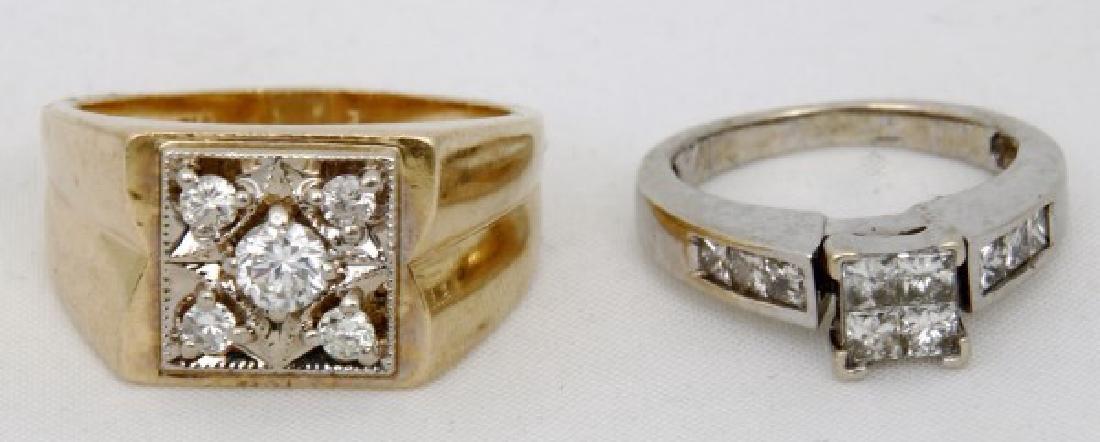 Man's & Woman's 14K Gold & Diamond Rings