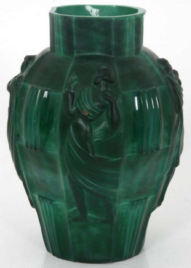 Attr: Schlevogt Art Deco Malachite Glass Vase - 2