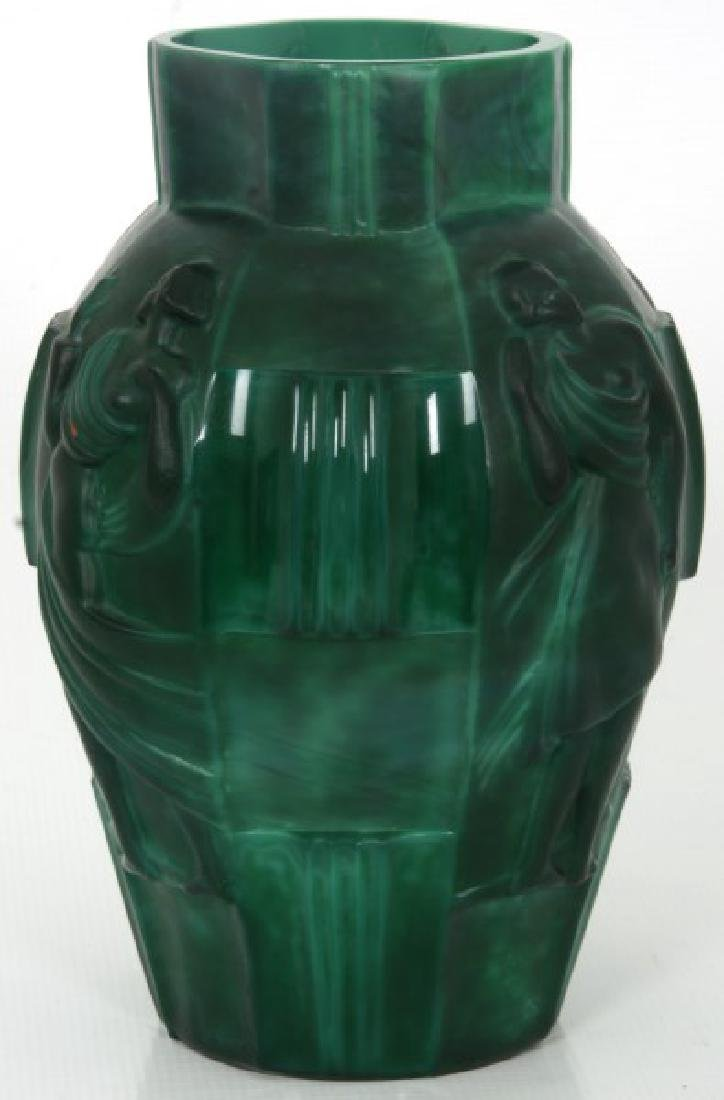 Attr: Schlevogt Art Deco Malachite Glass Vase - 3